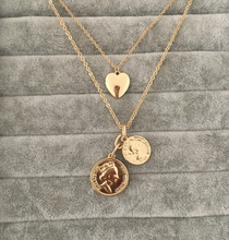 Laden Sie das Bild in den Galerie-Viewer, GOLD COLOR TWO COIN MEDALLION HEART PENDANT LAYERED NECKLACE