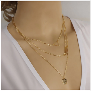 Sequins Multi-layer Chain Gold Necklace Women