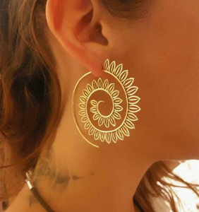 Ethnic Jewelry Swirl Hoop Earring For Women Brincos Gold Color