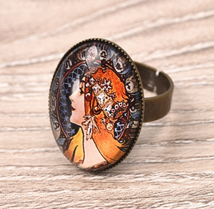 Bohemian Style Adjustable Glass Cabochon Ring