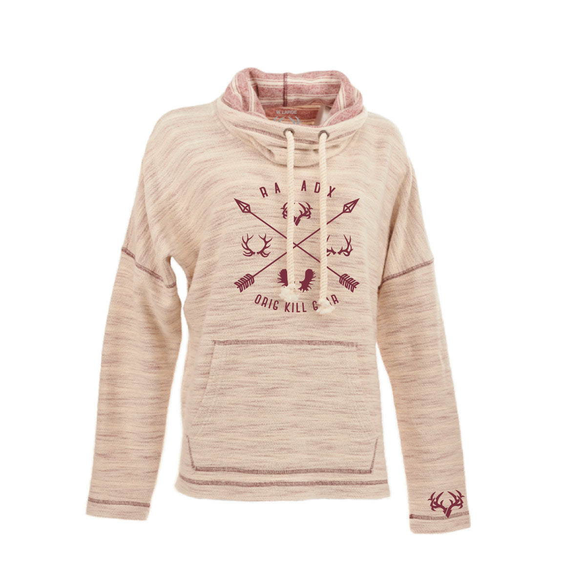 Ladies Crisscross Cowl-neck Sweatshirt with Antlers