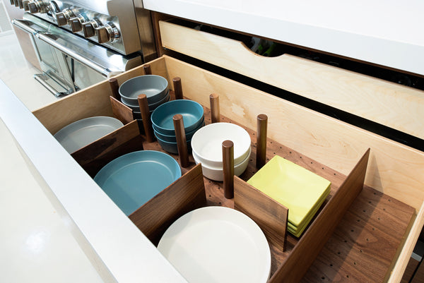 modern kitchen cabinetry dish storage
