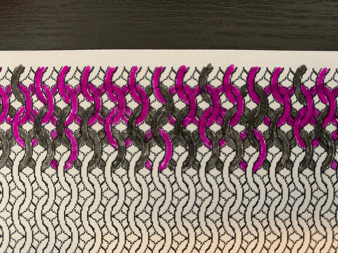 Chainmaille graph paper. Some of the rings are filled in with gray and violet ink.