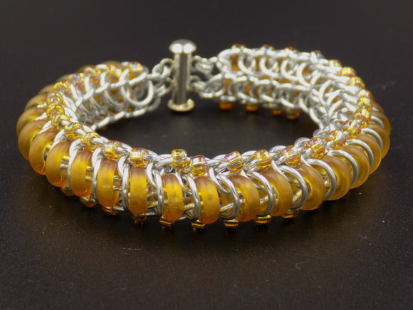 Amber Glass Caterpillar Bracelet
