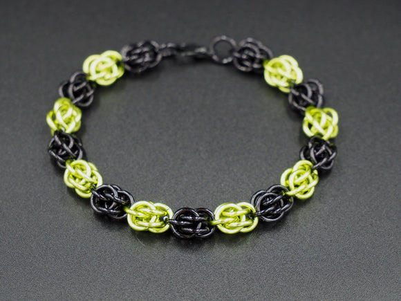 Black and Lime Green Sweet Pea Bracelet