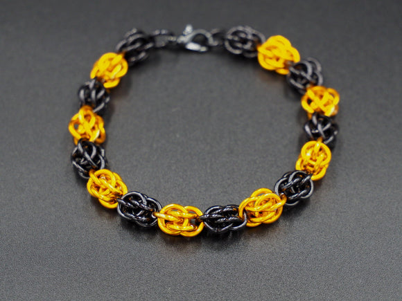 Black and Orange Sweet Pea Bracelet