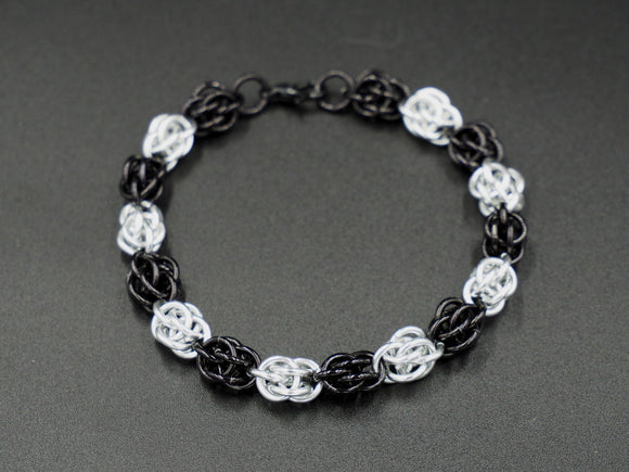 Black and Silver Sweet Pea Bracelet