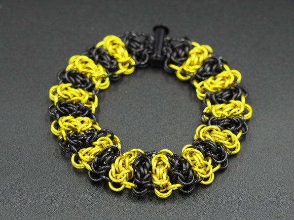 Black and Yellow Byzantine Steps Bracelet