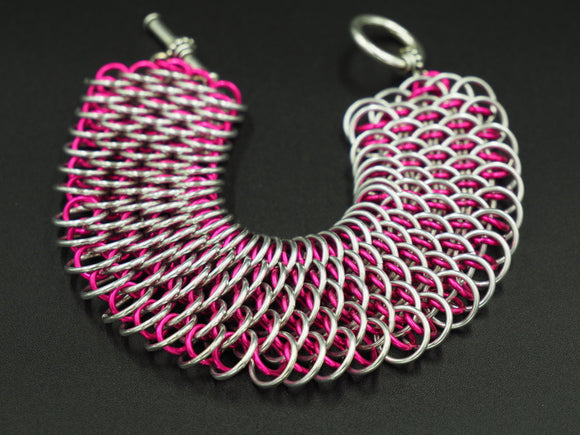 Raspberry and Silver Dragonscale Bracelet