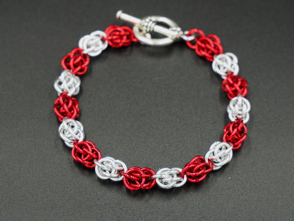 Red and Silver Sweet Pea Bracelet