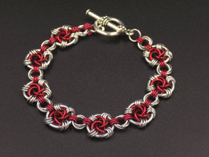 Red and Silver Swirls Bracelet