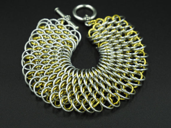 Yellow and Silver Dragonscale Bracelet