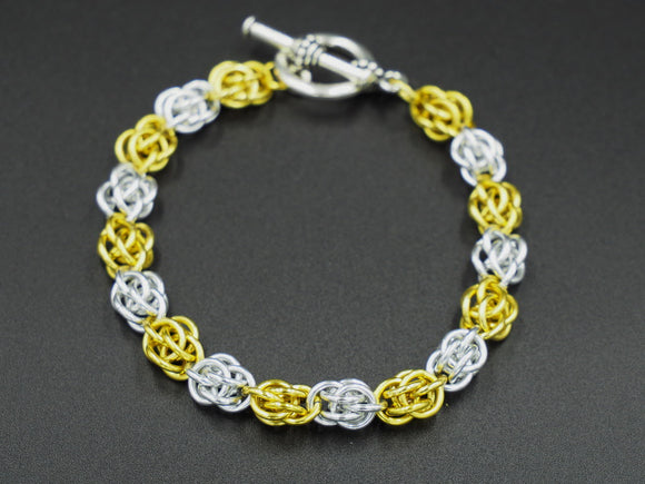 Yellow and Silver Sweet Pea Bracelet