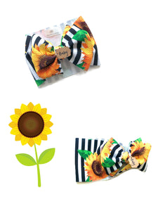RTS SUNFLOWER BOW WRAP - Baby Bums Clothing