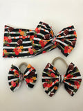 RTS FALL FLORAL FOOTBALL BOW - Baby Bums Clothing