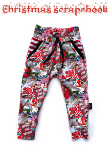 RTS CHRISTMAS SCRAPBOOK LUCAS JOGGERS - Baby Bums Clothing