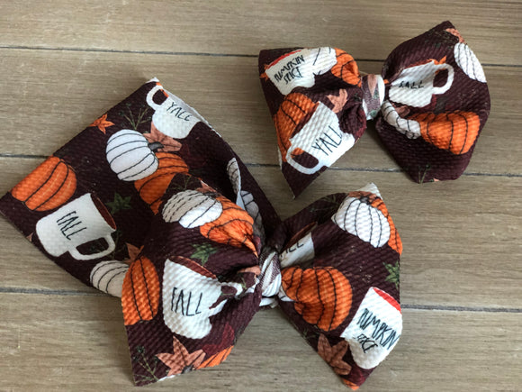 RTS PUMPKIN COFFEE CUP BOW - Baby Bums Clothing