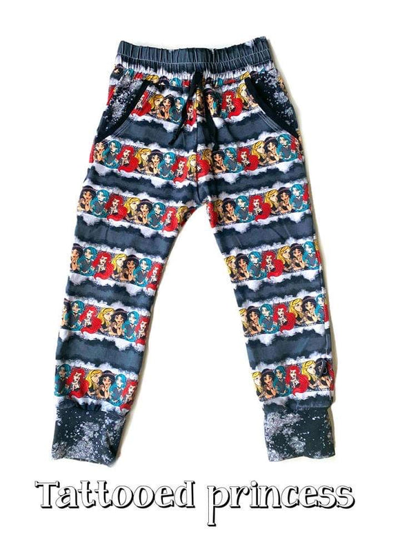 RTS TATTOOED PRINCESS LUCAS JOGGERS - Baby Bums Clothing