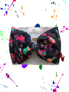 RTS Paint Splatter BOW WRAP - Baby Bums Clothing