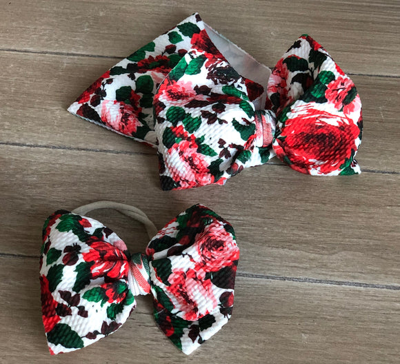 RTS CHRISTMAS FLORAL BOW - Baby Bums Clothing