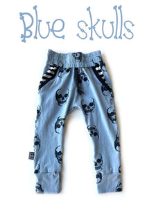 RTS BLUE SKULLS LUCAS JOGGERS - Baby Bums Clothing