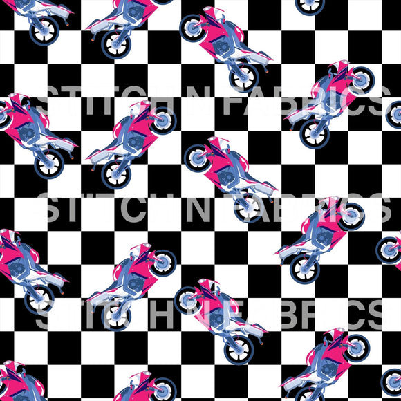 PREORDER CHECKERED PINK MOTORCYCLE - Baby Bums Clothing
