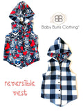 REVERSIBLE LOVE SKULL VEST - Baby Bums Clothing