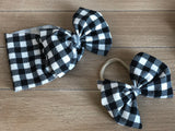 RTS B&W PLAID BOW - Baby Bums Clothing