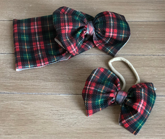 RTS CHRISTMAS PLAID BOW - Baby Bums Clothing