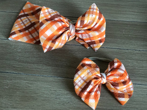 RTS FALL PLAID BOW - Baby Bums Clothing
