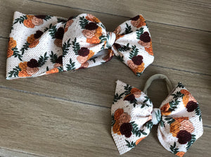 RTS FALL FLORAL  BOW - Baby Bums Clothing