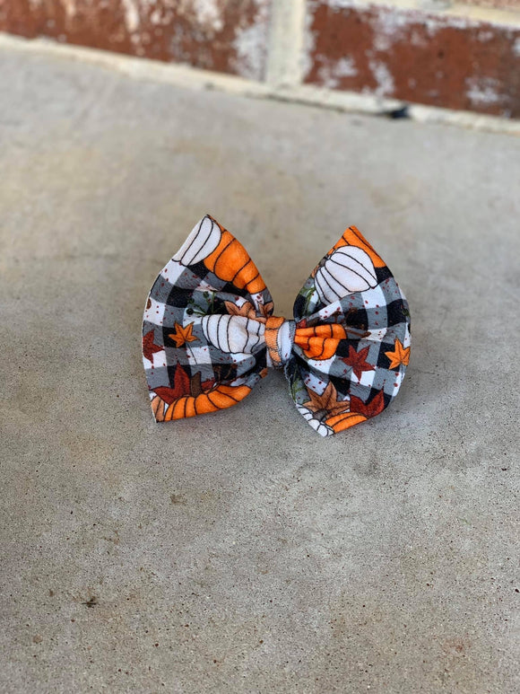 RTS PUMPKIN PLAID BOW - Baby Bums Clothing