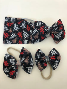 RTS PLAID XMAS TREES BOW - Baby Bums Clothing