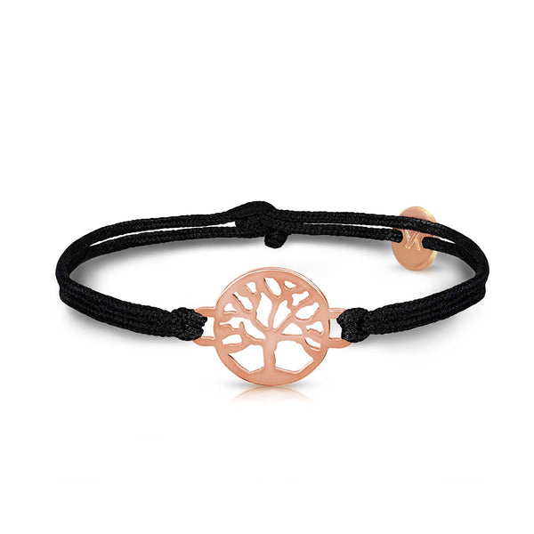 Tree Of Life Rosegold Onyx Black Bracelet