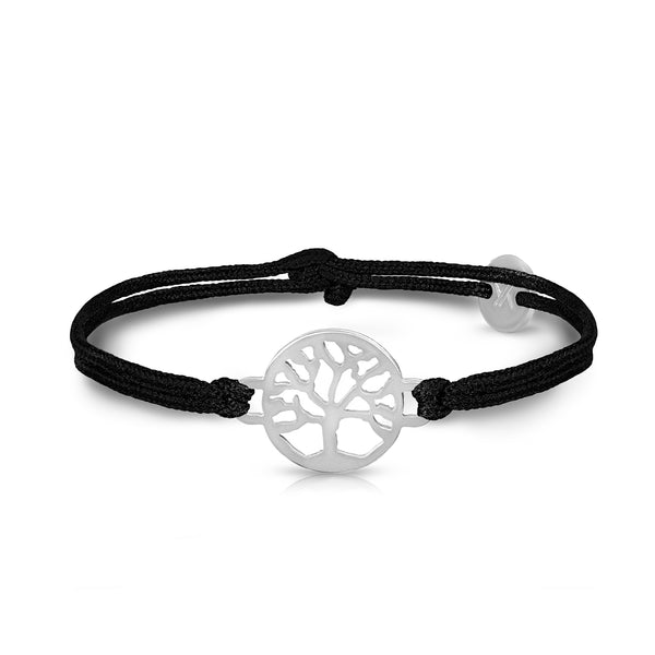 Tree Of Life Silver Onyx Black Bracelet