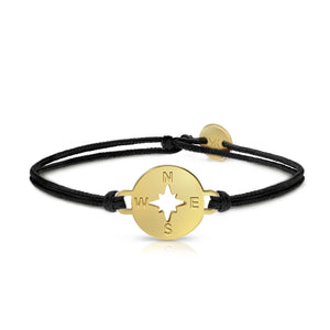 Compass Gold Onyx Black Bracelet