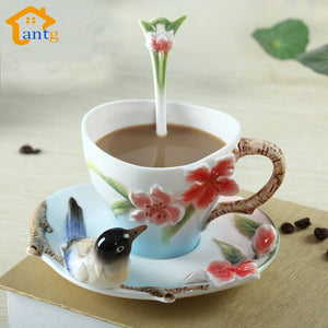 Bird and Flower Coffee Mug Set