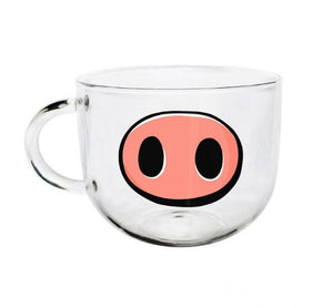 Funny Pig Nose Face Glass Coffee Mug