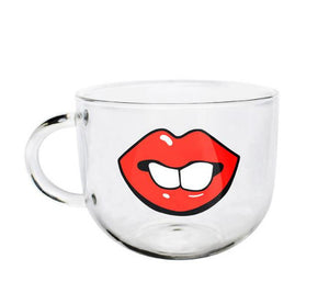 Funny Lips and Teeth Glass Coffee Mug