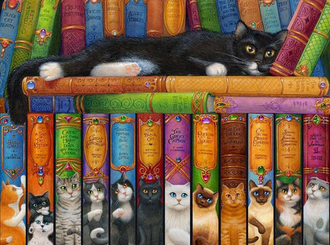 Cat & Book Diamond Painting