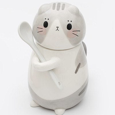 Cat Coffee Mug With Lid And Spoon
