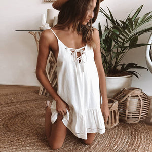 Women Loose Solid Spaghetti Strap Backless Dress