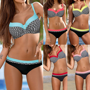Triangle Halter Print Push Up Bikini