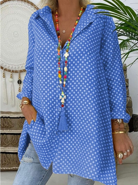 Ladies Long Sleeve Polka Dot Blouse