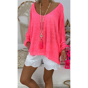 Ladies Fashion Deep Round Neck Long Sleeve Solid Blouse