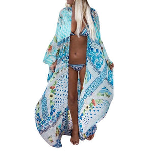 Long Kimono Cardigan Chiffon Beach Cover Up