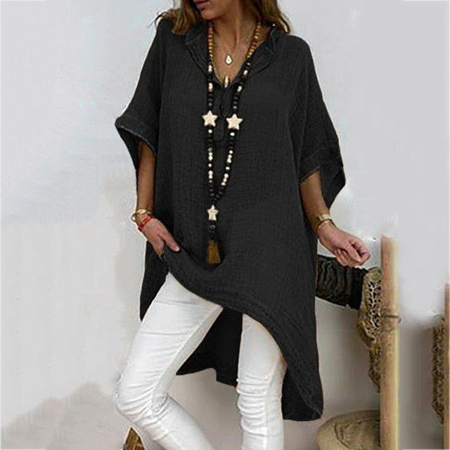 Ladies Summer Loose Solid Tunic Long Beach Blouse