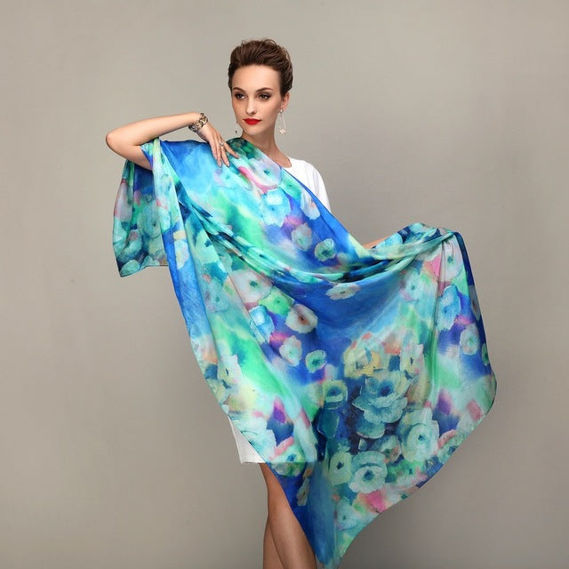 Summer/ Fall Fashion Women's Long Silk Scarf or Shawl - Monetta