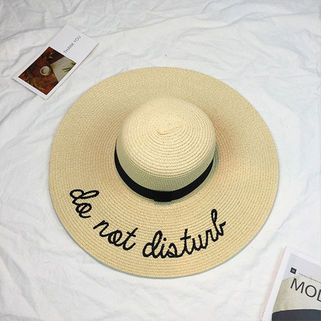 Hot Sale Wide Brim Letter Embroidery Straw Sun Hats