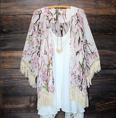 Women Chiffon Vintage Kaftan Summer/Fall Cardigan or Beach Cover Up - Monetta